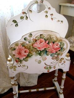 Magazine Rack with Spindled Legs Hand Painted Roses Sweet Cottage White