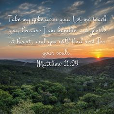 Take my yoke upon you. Let me teach you, because I am humble and gentle at heart, and you will find rest for your souls. Matthew 11:29