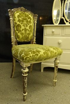 Antique chair distressed & upholstered in-house for the total shabby chic look. £65 (If you would like to buy this item call the sales office on 01903 753377 or visit our showroom www.thergf.co.uk) The RGF Restoration Team is the South East's leading furniture up-cycling company. Our skills include upholstery, restoration, and paint effect including shabby chic, farmhouse distress and French provincial.
