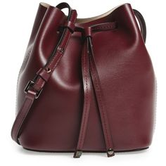 Women's Lodis Small Silicon Valley Blake Rfid Leather Bucket Bag ($154) ❤ liked on Polyvore featuring bags, handbags, shoulder bags, travel shoulder bags, leather drawstring bag, travel handbags, red purse and leather shoulder handbags
