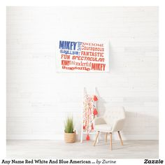 Any Name Red White And Blue American USA Flag Banner Happy Birthday William, Independence Day Holiday, Great Gifts For Guys, Holiday Banner, Flag Banners, Disney Birthday, Toy Story Birthday, Outdoor Banners, Party Poster