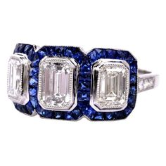 3.25cts Diamond Sapphire Platinum Engagement Ring by shen huan