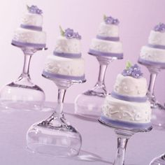 Tiny Blossoms Cakes - These tiered petit fours are a cute yet elegant addition to any wedding or shower celebration. They are topped with Quick-Pour Fondant Icing and tiny fondant blooms. Mini Wedding Cakes, Mini Cakes, Cupcake Cakes, Poured Fondant, Fondant Icing, Mini Tortillas, Cake Pops, Rose Icing, Icing Colors