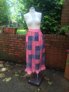 Patchwork Ruffle Bottom Wrap Maxi/Midi Skirt by PDeeVintage