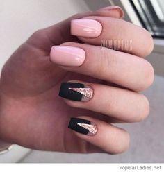 Black and pink nails Fall nails 2017 Fall nails trends Geometric nails Glitter nails Half-moon nails ideas Moon nails 2017 Nails for September 1 Nails 2017, Moon Nails, Best Nail Art Designs, Short Nail Designs, Pretty Nail Art, Super Nails, Nagel Gel, Nail Trends, Trendy Nails