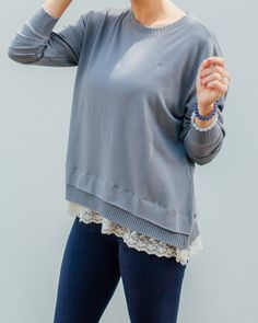 We are in love with the lace detail on this cozy sweatshirt! Dress it up or down, there are so many looks left to covet.