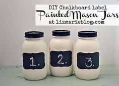 diy chalkboard label painted mason jars, chalkboard paint, crafts, electrical, mason jars, storage ideas