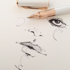 sketching with a parker pen//