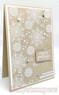 Simple White Heat Embossing. Cheers To The Year snowflakes. Independent Stampin' Up!® Demonstrator UK.