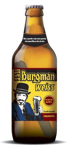 Cerveja Burgman Weiss, estilo German Weizen, produzida por Burgman, Brasil. 5.5% ABV de álcool.