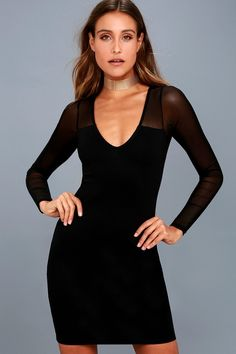 Make your night out extra special in the Parisian Nights Black Mesh Long  Sleeve Bodycon Dress 9e4c71b75e27