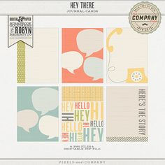 Hey There Journal Cards by Robyn Meierotto at Pixels & Company Pocket Scrapbooking, Scrapbook Cards, Digital Scrapbooking, Scrapbook Layouts, Project Life Layouts, Project Life Cards, Book Journal, Journal Cards, Bullet Journal