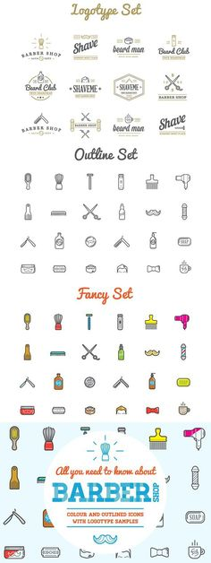 Awesome Barber Shop Icons and Logo #barber