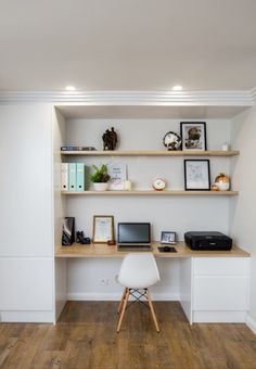 Floating Shelves In A Niche And A Floating Desk Top With The Same Look Home Office In 2018