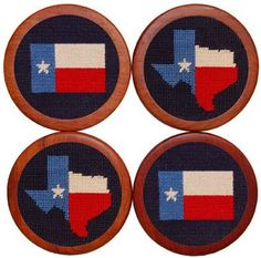 Texas Flag Needlepoint Coasters in Blue by Smathers & Branson