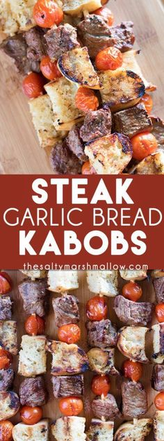 Steak & Garlic Bread Kabobs: These steak kabobs make for the best easy summer dinner on the grill! Healthy steak with the most amazing marinade, cubes of crusty grilled bread, and juicy tomatoes. These family and kid friendly kabobs are a weeknight favori Kabob Recipes, Grilling Recipes, Beef Recipes, Cooking Recipes, Vegetarian Grilling, Healthy Grilling, Barbecue Recipes, Barbecue Sauce, Vegetarian Food