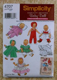 Simplicity 4707 Vintage Baby Doll Clothing Sewing Patterns for Girls by Teri, A (S-L) Baby Doll Clothes, Doll Clothes Patterns, Doll Patterns, Clothing Patterns, Baby Dolls, Mccalls Patterns, Craft Patterns, Kids Clothing, Bitty Baby