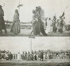 """Sun Dance, Rosebud, South Dakota, 1928, Major Israel McCreight. The Sun Dance is a Lakota religious ceremony. """"Only a very brave warrior became a candidate for the Sun Dance, for it meant giving his own body in supreme sacrifice. He must endure the greatest physical pain to ensure that his prayers would be answered. These prayers were to prevent tribal famine or the death of a dear one, or that could bring fortitude in facing immense odds in impending battle or help on behalf of a friend… Native American Pictures, Native American History, Native American Indians, Eskimo, Raising Rabbits, Bravest Warriors, American Spirit, First Nations, Rose Buds"""