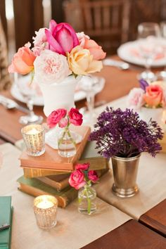 California Country Wedding- LOVE the books + candles + flowers