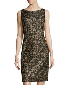 Glitter+Lace+Sheath+Dress,+Black/Gold++by+Chetta+B+at+Neiman+Marcus+Last+Call.
