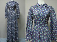 1960s/70s Blue Floral Prairie Dress  Long by LittleGhostVintage, $34.00