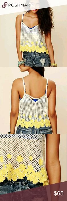 Free People Intimately crochet DAISY CROPPED TANK Brand New without Tags  Adjustable straps Swing cropped fit  Size Medium Free People Tops