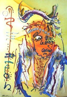"""Two moons Cheyenne 1910"" Acryl on canvas, 2007 70cm x 100cm  In Henk Klinkhamer gallery"