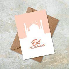 Eid Mubarak Card Orange Mosque Masjid Single Card, Set of 5 or 10 Islamic Wall Art Card Eid Gift Pre Eid Mubarak Stickers, Eid Mubarak Card, Eid Stickers, Eid Card Designs, Eid Mubarek, Eid Cards, Greeting Cards, Birthday Wishes For Friend, Ramadan Crafts