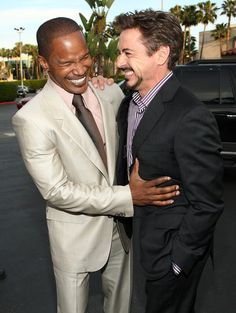 """Robert Downey Jr. Photos Photos - Actors Jamie Foxx and Robert Downey Jr. arrive at the premiere of Dreamworks Pictures' """"The Soloist"""" held at the Paramount Studios Theater on April 20, 2009 in Los Angeles, California.  (Photo by Alberto E. Rodriguez/Getty Images) * Local Caption * Jamie Foxx;Robert Downey Jr. - Premiere Of DreamWorks """"The Soloist"""" - Arrivals"""