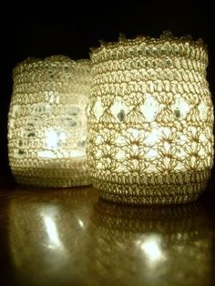 crochet candle holders give a homey feel