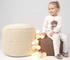 MILKY crocheted KING size POUF/ poliester  by SanFateInterior