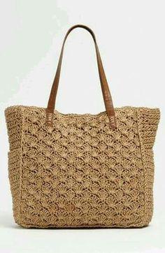 Straw Studios Crochet Tote bag not a pattern but idea Crotchet Bags, Crochet Tote, Crochet Handbags, Crochet Purses, Knitted Bags, Diy Crochet, Crochet Crafts, Crochet Stitches, Crochet Designs