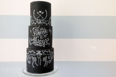The Hottest 2015 Wedding Trend: 30 Chalkboard Wedding Cakes - crazyforus Round Wedding Cakes, Pretty Wedding Cakes, Amazing Wedding Cakes, Amazing Cakes, Chalkboard Cake, Chalkboard Wedding, Cake & Co, Cake Art, Eat Cake