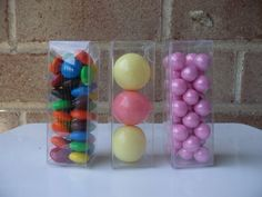 12 Clear Plastic 3 x 1 x 1  inch small boxes ...Candy, Bath salts, Gum Balls, Beads, crafting by sweetpartyshop on Etsy https://www.etsy.com/listing/157029254/12-clear-plastic-3-x-1-x-1-inch-small