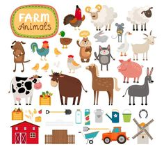 Farm animals by Microvector on Creative Market