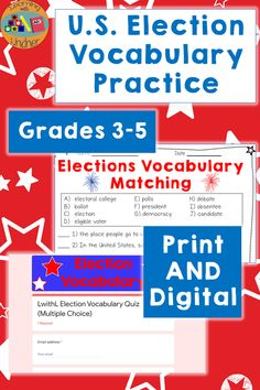 Help your students understand the United States election-related vocabulary they are hearing all the time with this mini-unit! Vocabulary: absentee, ballot, debate, democracy, candidate, election, polls, president, electoral college, eligible voter Keywords: grade 3, grade 4, grade 5, hybrid, remote, virtual, in person, teach, learn, activity, printable, no prep, social studies, history, america, match, fill in the blank, quiz, google forms, google slides, google classroom, vote, voting Education English, Elementary Education, Teaching Government, Vocabulary Practice, Map Skills, 5th Grade Classroom, Social Studies Resources, Teacher Created Resources