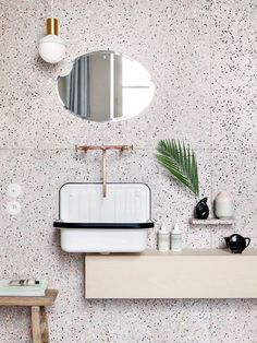 White terrazzo with black dots and copper fixtures for a a chic look. Terrazzo inspiration for home interiors and redecoration ideas. Art Deco Bathroom, Bathroom Interior, Modern Bathroom, Small Bathroom, Design Bathroom, Bathroom Ideas, Neutral Bathroom, Shower Ideas, Bathrooms