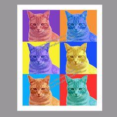 Cat Print Cat Poster Cat Art Cat Pop Art by PawsomeArtDesigns, $11.99