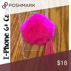 Pom Pom Phone Case Hot pink pom pom with tassel, for a I-Phone 6+ ... Accessories Phone Cases