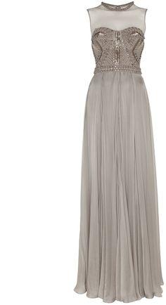 Temperley London Long Laurel Sleeveless Dress in Silver (platinum)