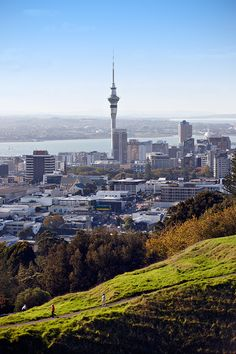 Couple taking in the views from Mount Eden, Auckland