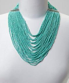 Aqua Seed Bead Bib Necklace on #zulily! #zulilyfinds