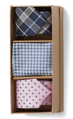 Dad will love two ties and handsome pocket square in this set. It even comes in a gift box!