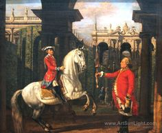 THE PRINCE JOZEF PONIATOWSKI RECEIVING A HORSE-RIDING LESSON FROM THE COLONEL KONIGSFELS. 1773. oil on canvas. 73 × 81,5 cm. Warsaw. Museum Narodowe. Inv. no. MP 4283, on deposit in Warsaw. Royal Castle. Museum. Inv. no. ZKW/1883/ab/Dep.