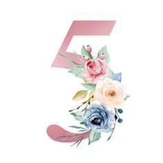 Number five with watercolor flowers roses and leaf. Vintage floral design perfectly for wedding invitations, greeting card, logo, poster and other. Isolated on white background. Flower Wallpaper, Wallpaper Backgrounds, Alfabeto Animal, Invitation Mockup, Floral Printables, Most Beautiful Wallpaper, Paintings I Love, Holidays And Events, Vintage Floral