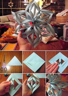 "Giant 3-D Snowflake - giant is right. With 6 sheets of copy paper, each trimmed to 8.5"" square, this giant measures nearly 23""! Next time I'll make them a bit smaller, and with stiffer paper. Card stock perhaps. Invisible tape is also a must."