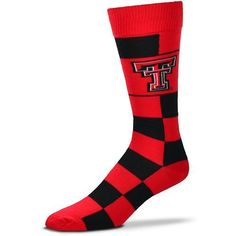 For Bare Feet Texas Tech University Jumbo Check Thin Knee High Dress Socks (Red, Size One Size) - NCAA Licensed Product, NCAA Novelty at Academy Sp...