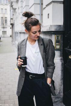 POLIENNE | wearing ZARA tartan blazer, CLOSED tee, WEEKDAY trousers, PULL&BEAR bag in Antwerp, Belgium