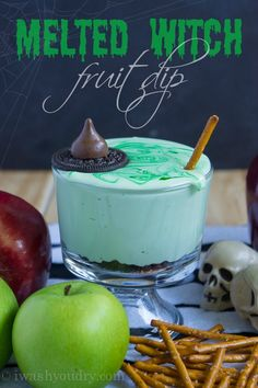 Melted Witch (chocolate chip cream cheese) Fruit Dip. This fun and creamy dip is absolutely delicious and whimsical too. Loved by everyone in our house!!