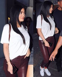 Maroon Leather Pants‼️(It's Kylie So Prob Not Pleather lol) Love The Skin Tight Thin Fabric & Shine Def Latex Like⁉️‼️